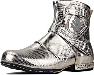 OSSTONE Motorcycle Boots for Men Cowboy Fashion Zipper Leather Chukka Boots Casual Shoes OS-5008-1-Gold-R