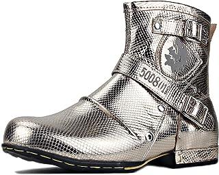osstone Bottes de Moto Cowboy pour Hommes Fashion Mode Zipper Bottes Chukka en Cuir Chaussures décontractées OS-5008-1-Gold-R