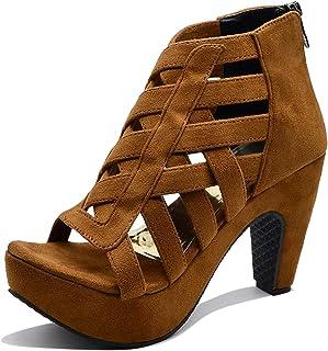 Midsole Womens Velvet Western Heels Fashion Sandals - FT6030C
