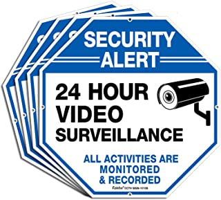"""(4 Pack)""""Security Alert - 24 Hour Video Surveillance, All Activities Monitored"""" Signs,10 x 10 .040 Aluminum Reflective Warning Sign for Home Business CCTV Security Camera, Indoor or Outdoor Use,Blue"""