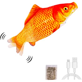 UPSKY Electric Moving Fish Cat Toy, Realistic Plush Simulation Electric Wagging Fish Cat Toy Catnip Kicker Toys, Funny Interactive Pets Pillow Chew Bite Kick Supplies for Cat Kitten Kitty