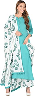 Meera Fab Women's Cotton Floral Print Straight Kurta Pant and Dupatta Set (Aqua)