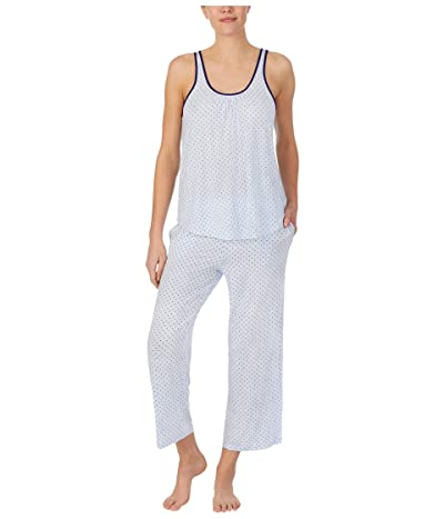 Kate Spade New York Modal Jersey Sleeveless Cropped PJ Set (Blue Ribbon Pindot) Women