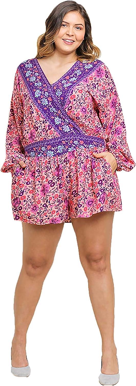 Umgee Womens Floral Print Long Puff Sleeve Crossbody Short Romper