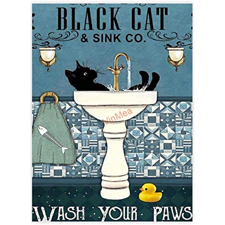 Funny Bathroom Sign Decor Black Cat And Sink Co Wash Your Paws Poster Best Gift