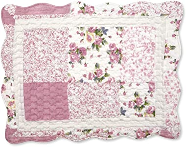 Collections Etc Hadley Floral Patchwork Quilted Pillow Sham, Rose, Sham