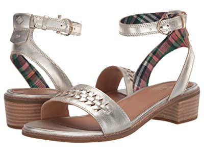 Sperry Seaport City Sandal Ankle Strap Woven Leather (Platinum) Women