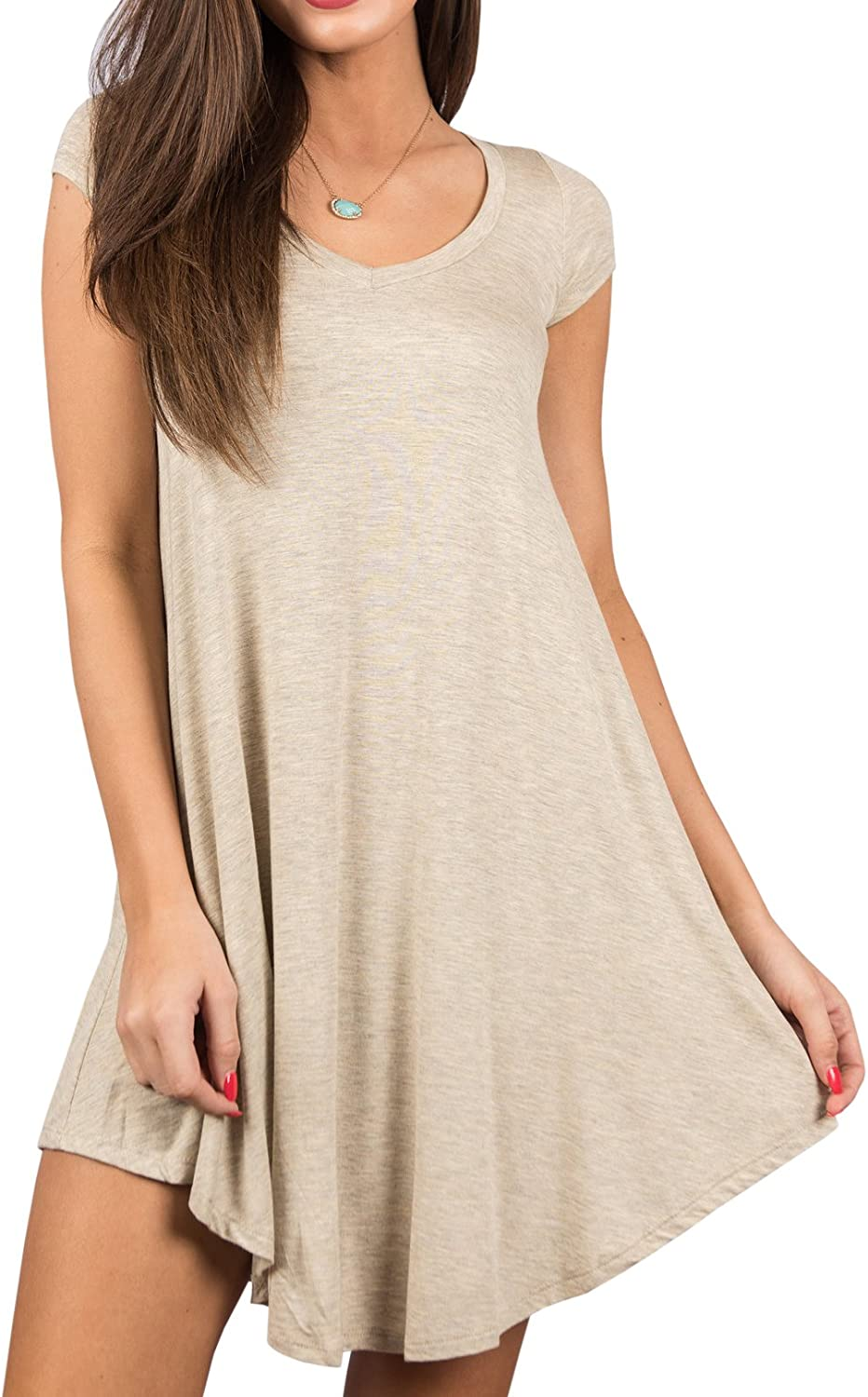 Imysty Womens Casual Swing TShirt Dress Short Sleeve Loose Crew Neck Tunic Top