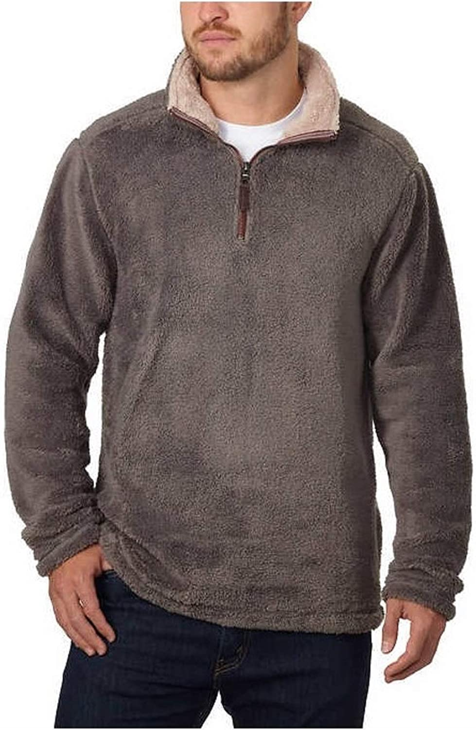 Men's Trinity Plush ¼ Zip W Khaki Large Charcoal Credence Pullover Max 44% OFF