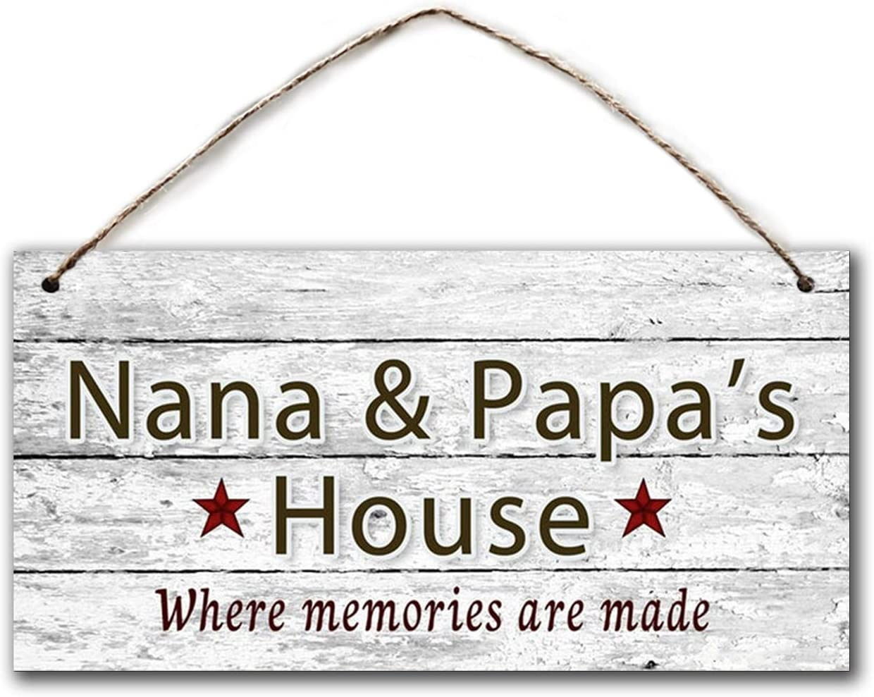 BESTWD Nana & Papa's House Sign, Where Memories are Made, Distressed Wall Art, Gift for Grandparents, 5