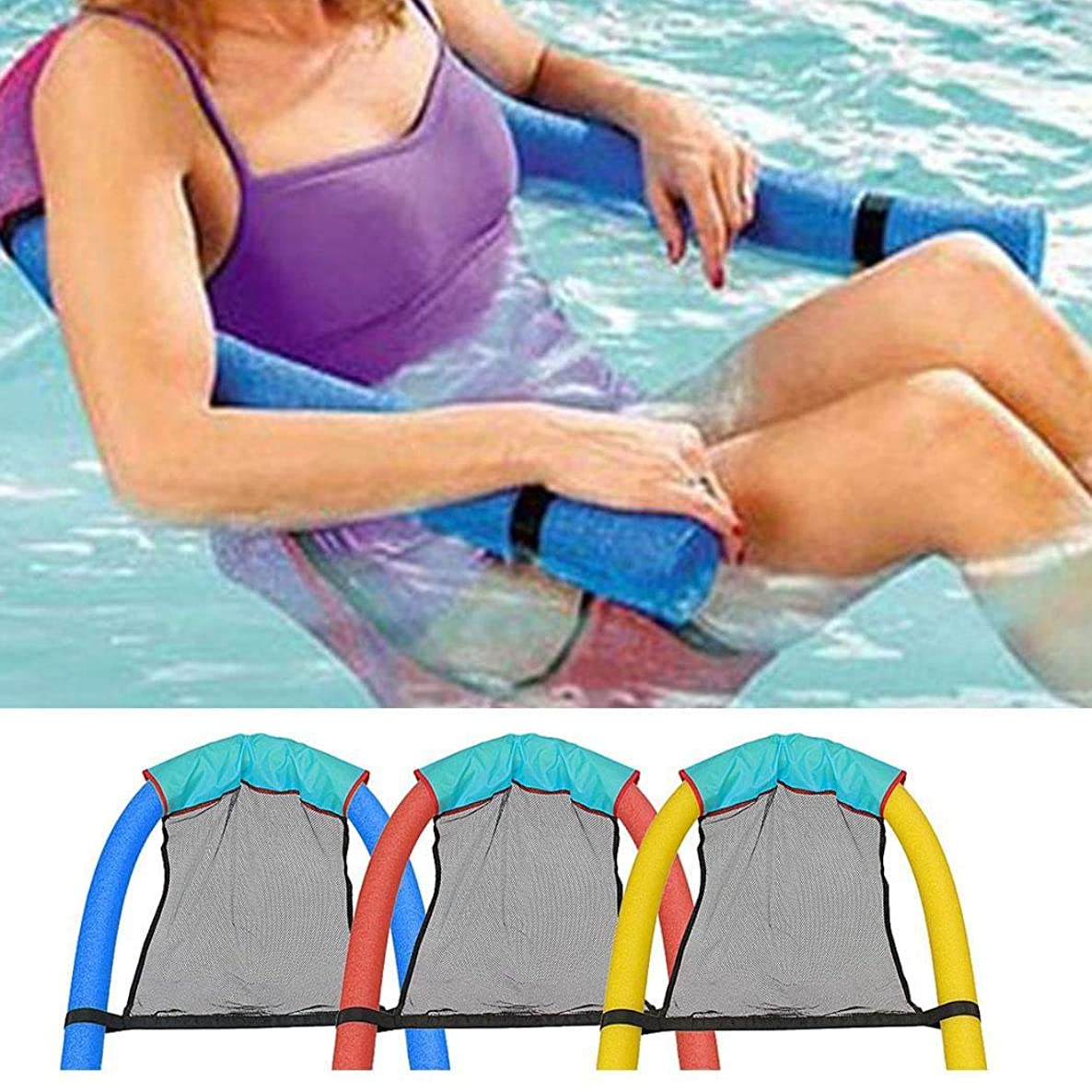 Fanxis Float Chair Big Buoyancy Foam Stick Swimming Pool Sling Mesh Beach Sling Chair Swimming Pool Float,Best for Someone who Weighs About 60kg