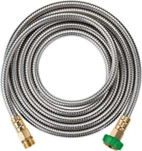 On-Airstore 10 Foot 304 Stainless Steel Metal Garden Hose with Brass Garden Hose Nozzle – Flexible, Lightweight, Kink & Tangle Free, Easy to Use & Store (Green,10 Feet)