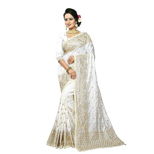 8ac0226057 Indian designer white Embroidery and Border work Art Silk Party wear saree  Sari
