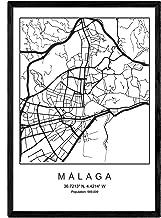 Nacnic Lámina Mapa de la Ciudad Malaga Estilo nordico en