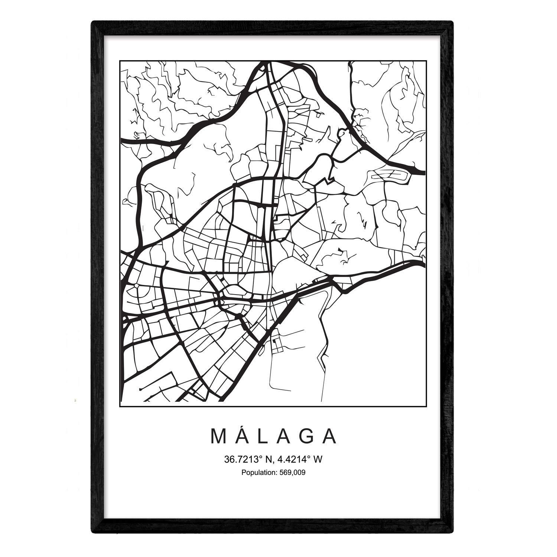 Nacnic Lámina Mapa de la Ciudad Malaga Estilo nordico en Blanco y ...