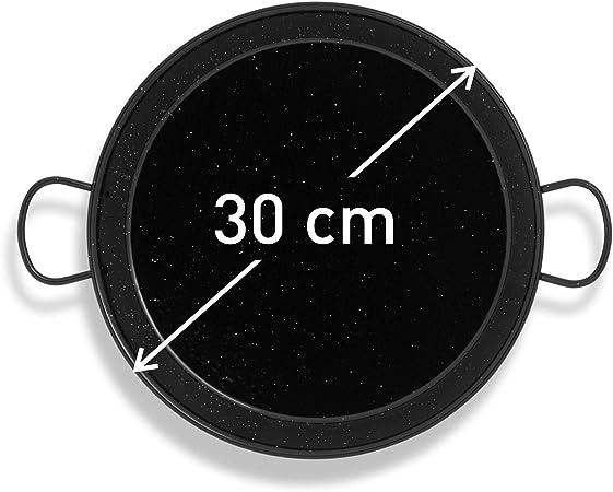 Paellissimo - Paellera para Fuego y Horno Acero Laminado en Frío con Esmalte Antiadherente de 32cm Paella Pan para 2-3 raciones | para Kit