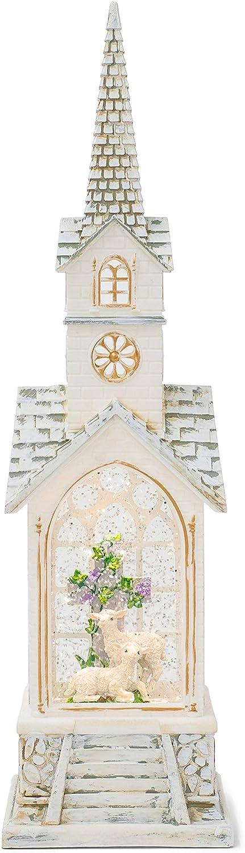 Raz Alabaster White Church Easter Lamb 15.25 x 4.5 Acrylic Decorative Tabletop Water Lantern