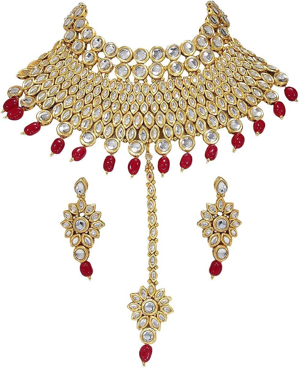 High Quality Gold Plated Kundan /& Shell Pearl Blue Enamel Pentagon Shape Design Bridal Choker Necklace Indian Wedding Bollywood Jewelry