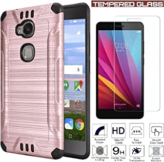 Huawei Sensa 4G LTE [Straight Talk] H710VL H715BL / Honor 5X Armor Case Heavy Duty Brushed Metal Finish Slim Fit Shock Impact Dual Layer Protection + Tempered Glass LCD Screen Protector (Rose Gold)