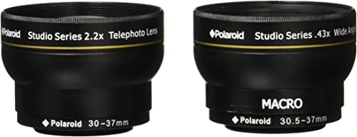 discount Polaroid Studio Series 30/30.5/43/37mm .43x HD Wide Angle Lens popular With Macro Attachment + Polaroid Studio Series 2.2X HD Telephoto Lens Travel online sale Kit online