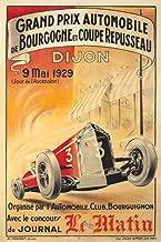 Grand Prix Automobile - Dijon Vintage Poster (artist: Pernot, R.) France c. 1929 64912 (24x36 SIGNED Print Master Art Print - Wall Decor Poster)