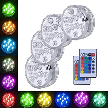 Amazon Com Rgb Color Changing Submersible Lights 13 Colors Fade Jump Modes Battery Powered Led Lights With Remote Timer 4 Pack Musical Instruments