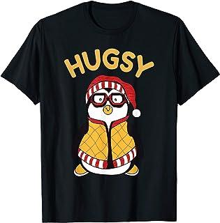 Funny Hugsy Penguin For Friends Thanksgiving Santa Hat Gift T-Shirt