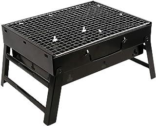 xinxinchaoshi Portable Folding Charcoal Barbecue Desk Tabletop Outdoor Black Smoker BBQ for Picnic Garden Terrace Camping ...