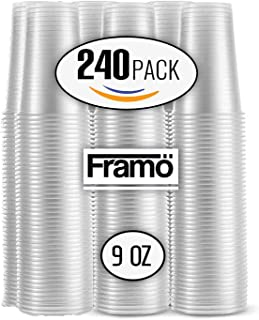 9 Oz Clear Plastic Cups by Framo, For Any Occasion, BPA-Free Disposable Transparent Ice Tea, Juice, Soda, and Coffee Glasses for Party, Picnic, BBQ, Travel, and Events, (240), clear)
