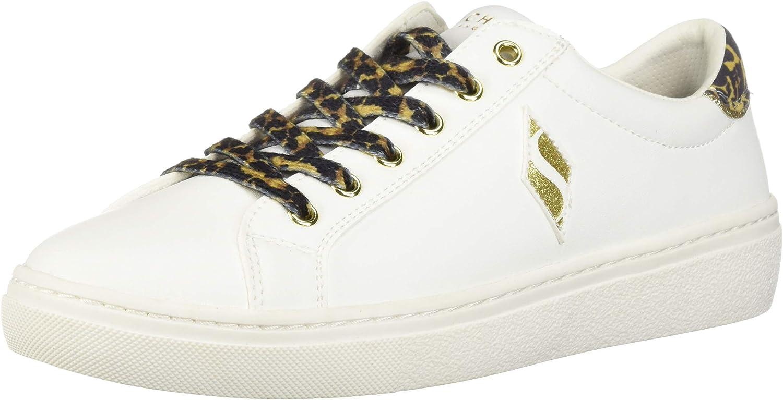 Skechers Womens goldie - Wild Side. Leopard Mustache Letaher Lace Up Sneaker Sneaker