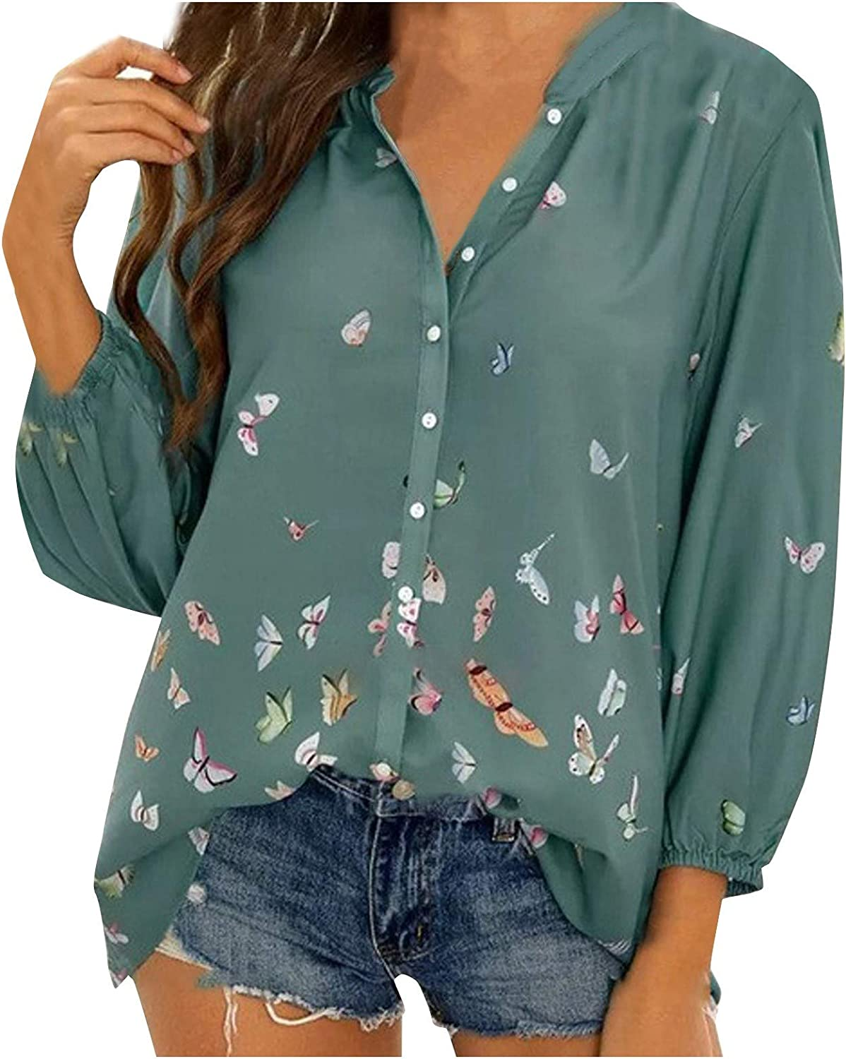 Button Down Shirts for Women 3/4 Sleeve Colorful Butterflies Print V Neck Spring Summer Blouse Casual Loose Tops