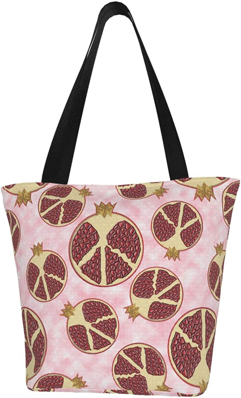 Pomegranate Fruit Pink Peace Sign Themed Printed Women Canvas Handbag Zipper Shoulder Bag Work Booksbag Tote Purse Leisure Hobo Bag For Shopping