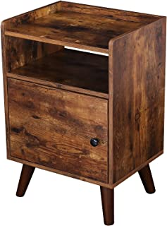 HOOBRO End Table, 3-Tier Nightstand with Door, Side Table for Small Spaces, Wood Look Accent Table, Stable and Sturdy Cons...