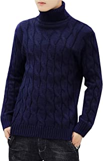 QZH.DUAO Men's Twisted Cable Knitted Turtleneck Sweater Pullover Jumper Tops Knitwear, Dark Blue, US L