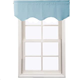 Aquazolax Kitchen Curtains Window Treatments Valance Elegant Solid Blackout Scalloped Valance Curtain Panel for Living Room, 52inch by 18inch, Turquoise, 1 Panel