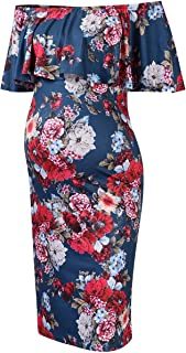 Coolmee Women's Maternity Dress Off Shoulder Casual Maxi...
