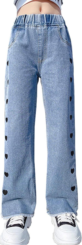 High material NABER Kids Girls Limited price Casual Wide Leg Denim Pattern Pants Elast Heart