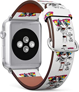(Funny Giraffe Wearing Sunglasses) Patterned Leather Wristband Strap for Apple Watch Series 4/3/2/1 gen,Replacement for iWatch 42mm / 44mm Bands