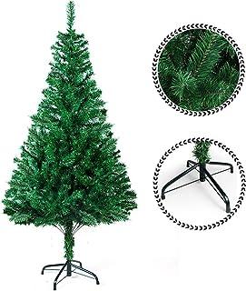comprar comparacion SunJas Árbol de Navidad Artificial Árbol Espeso y Lujo Verde/Blanco/Nevado con Copos de Nieve Blancos y Piñones de Pino So...