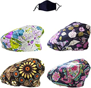 JoyRing Adjustable Surgical Scrub Cap Medical Doctor Bouffant Hats with Sweatband and Free Cotton Mask