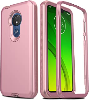 AMENQ Case for Moto G7 Power, Moto G7 Optimo Max Case 6.2, Moto G7 Supra Case XT1955, Full Body Heavy Duty with TPU Bumper and Rugged PC Armor Protective Phone Cover with Screen Protector(Rose Gold)