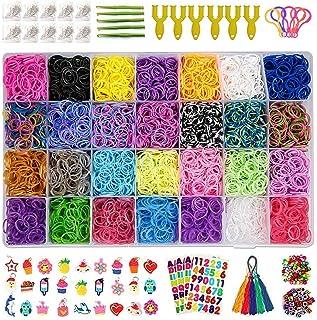 Innoo Tech 10815+ Rainbow Rubber Bands Refill Kit, Over 10,000 Loom Rubber Bands, 600 S-Clips, 160 Beads, 30 Pendants,10 B...