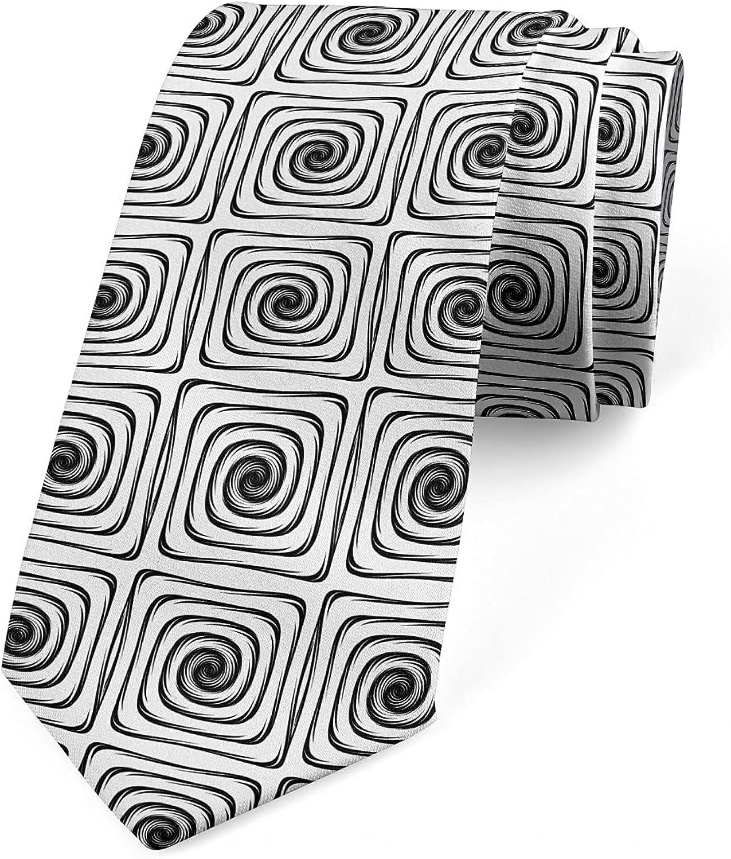 Ambesonne Necktie, Simple Square Spirals, 3.7