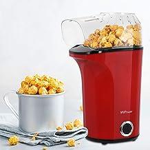 MVPower Machine à Popcorn Electrique 1400W, Popcorn Popper Antiadhésif, Air Chaud sans Huile, avec Couvercle Amovible, Pro...