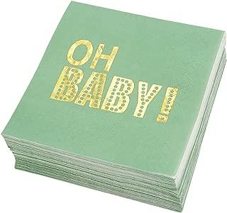 Paquete de 50servilletas de cóctel–desechables servilletas de papel de fiesta con varios diseños festivos, Oh Baby!, 50, 1.00