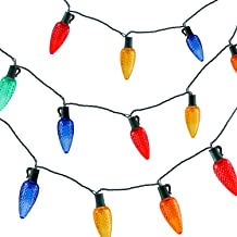 VanRayal C9 Christmas Lights Colored,17ft 25led Roofline Light String for Patio,Tree,Garden,Party Wedding Holiday,Green Wire,UL Listed,82 Sets CONNECTABLE,Two-Year-Warranty