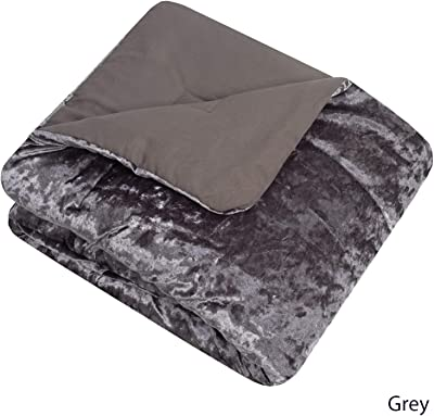 """Sweet Home Collection Throw Blanket Crushed Velvet Soft and Luxurious 50"""" x 60"""" Cozy Plush All Season for Couch, Chair, Sofa, Gray"""