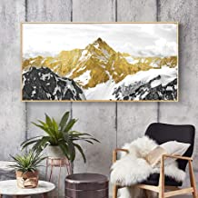 JRTF Golden Mountain Birds Abstract Canvas Painting Wall Art Posters and Prints Painting Wall Pictures for Living Room Home Decor-50X100Cm Frameless