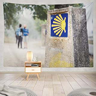 Geericy Yellow Tapestry, Wall Hanging Tapestry Yellow Shell Way Santiago Route with Two Arrow Blue Christian Wall Tapestry Dorm Home Decor Bedroom Living Room in 80X60