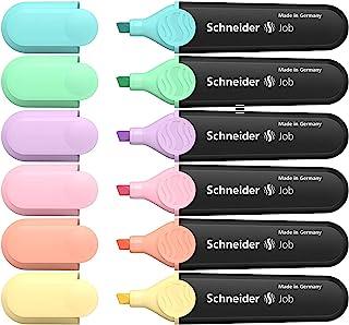 Schneider Job Pastel Highlighter, 1-5mm, Wallet, Pack of 6, Assorted - Turquoise, Mint, Lavender, Rose, Peach & Vanilla (R...